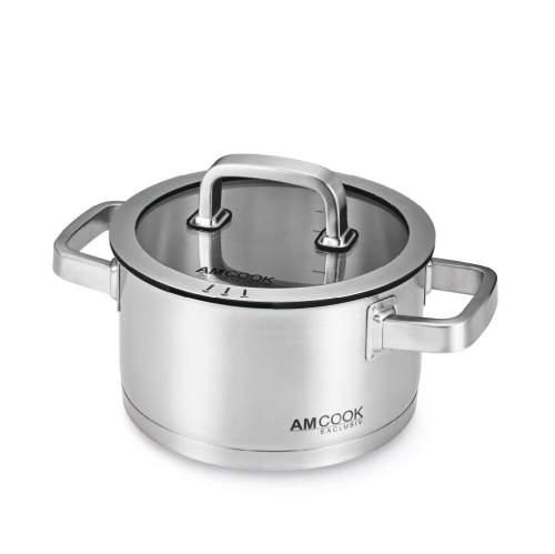 AMCOOK - Kochtopf Ø 20x11 cm für Muldenlüfter inkl. Glas-Deckel - 8500737