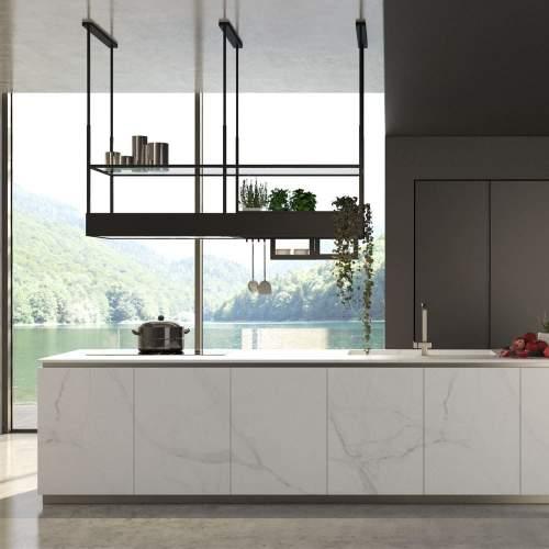 Falmec Spazio Inselhaube 180 cm - Schwarz 102075/ edelstahl 102129 inkl. 5 Jahren Herstellergarantie