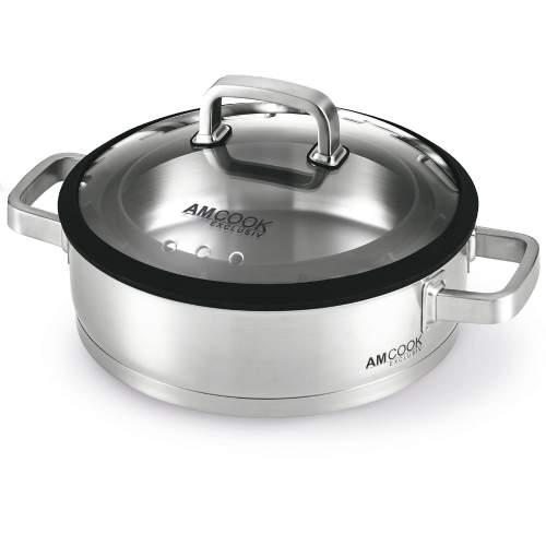 AMCOOK - Servierpfanne 28x8 mit Gourmetdeckel für Muldenlüfter - 8500748